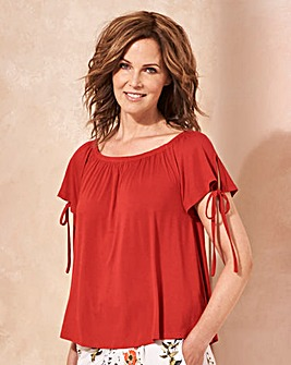 Red Tie Sleeve Detail Bardot Top