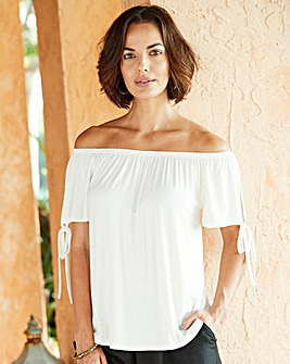Ivory Tie Sleeve Detail Bardot Top