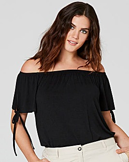 Black Tie Sleeve Detail Bardot Top