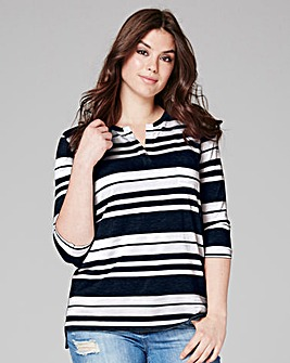 Navy Stripe 3/4 Sleeve Grandad Top