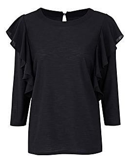 Black Long Sleeve Ruffle Top