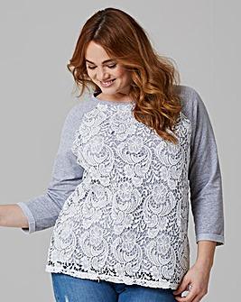 Grey/Ivory Lace Front Sweatshirt