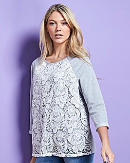 Grey/Ivory Lace Front Sweatshirt