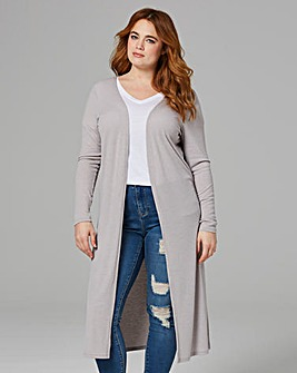 Grey Marl Longline Rib Jersey Cardigan