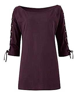 Mulberry Lace Up Sleeve Bardot Top