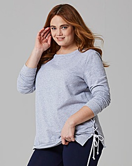 Grey Lace Up Side Sweatshirt
