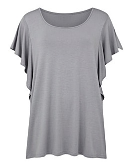 Grey Ruffle Sleeve Jersey Top