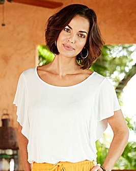 White Ruffle Sleeve Jersey Top