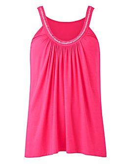 Candy Pink Embellished Camisole Vest