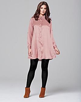 AX Paris Pink Satin Shirt Dress