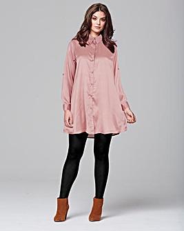 AX Paris Pink Satin Shirt Dress