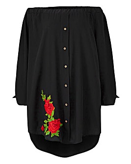 AX Paris Embroidered Bardot Blouse