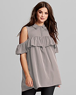 AX Paris Cold Shoulder Ruffle Blouse