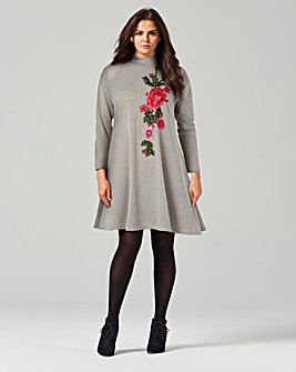 AX Paris Grey Embroidered Swing Dress