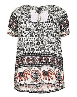 Samya Plus Size Tribal Print Top