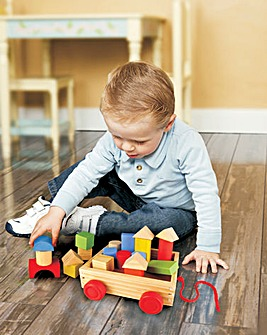 Wooden Pull Along Wagon with Blocks