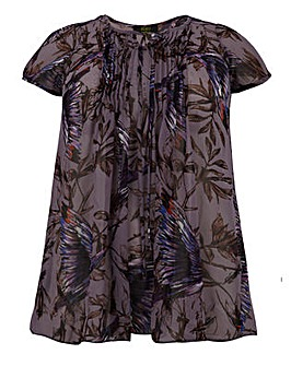 Koko Bird Print Sheer Tie Front Blouse