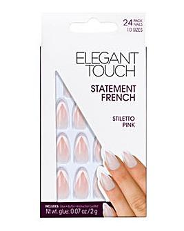 Elegant Touch French Nail Stiletto Pink