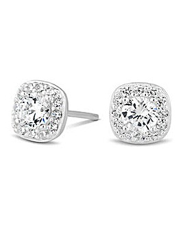 Simply Silver pave surround earring