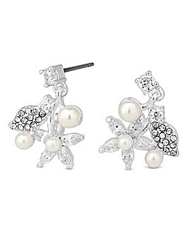 Jon Richard Silver pearl floral earring