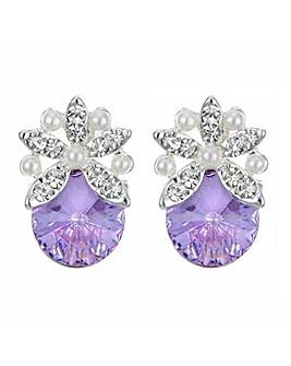 Jon Richard Pearl flower pink earring