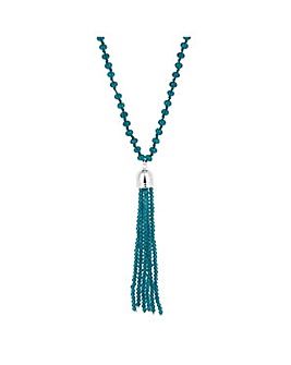 Jon Richard Teal pearl tassel necklace