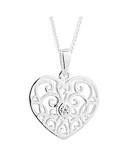 Simply Silver cut out heart necklace