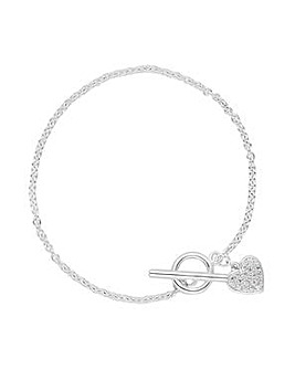 Simply Silver Heart T-Bar Bracelet