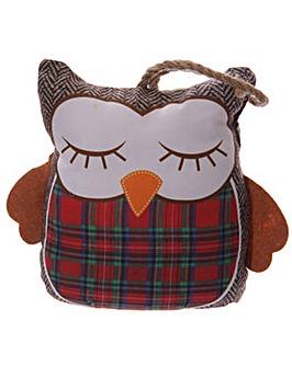 Decorative Owl Tartan Door Stop