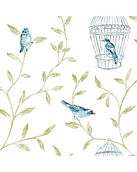 Birds and Cages Teal