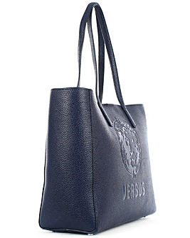 Versus Versace Navy Leather Shopper Bag