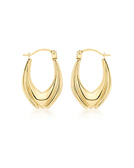 9Ct Gold Small Tulip Creole Earrings