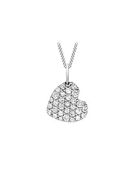 9ct White Heart Necklace