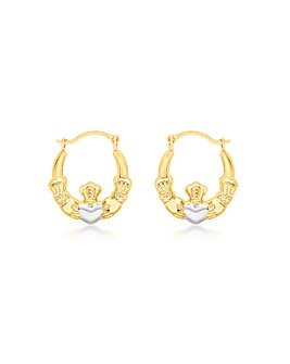 9Ct Gold 2 Tone Claddagh Creole Earrings