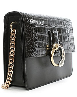 Cavalli Class Croc Leather Shoulder Bag