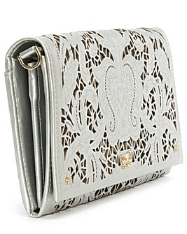 Cavalli Class silver Laser Cut Chain bag