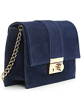 Daniel Ahand Navy Suede Lock Bag