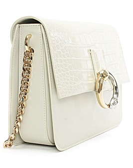 Cavalli Class white Leather Shoulder Bag