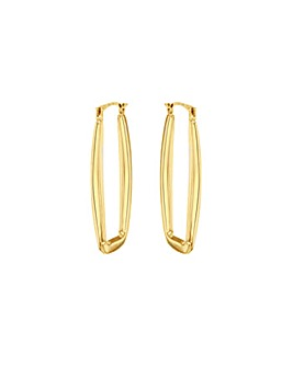 9Ct Gold Long Rectangle Creole Earrings