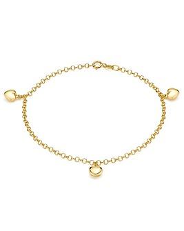 9Ct Gold Three Small Hearts Bracelet