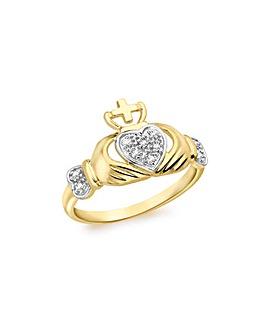 9Ct Gold Diamond Claddagh Ring