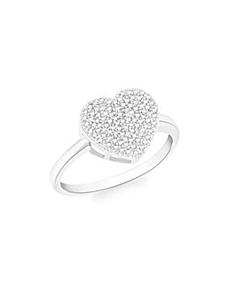 9Ct Gold Diamond Heart Ring