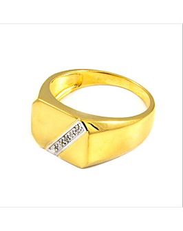Gents Gold Plated Silver Block Ring