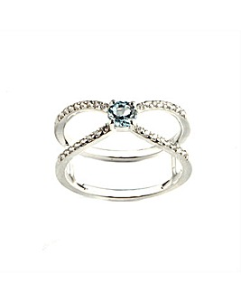 Blue Topaz and Cubic Zirconia Ring