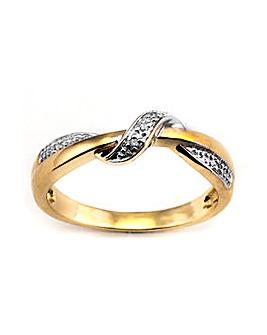 9ct Yellow Gold Diamond Twist Ring