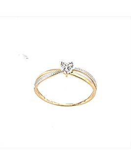 9ct Gold Cubic Zirconia Heart Ring