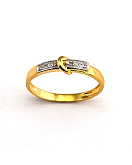 Gold Plated Silver Diamond Buckle Ring