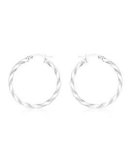 9CT White Gold Med Twist Earrings