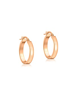 9CT Red Gold 15mm Tube Creole Earrings
