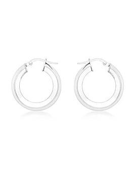 9CT White Gold Medium Tube Earrings